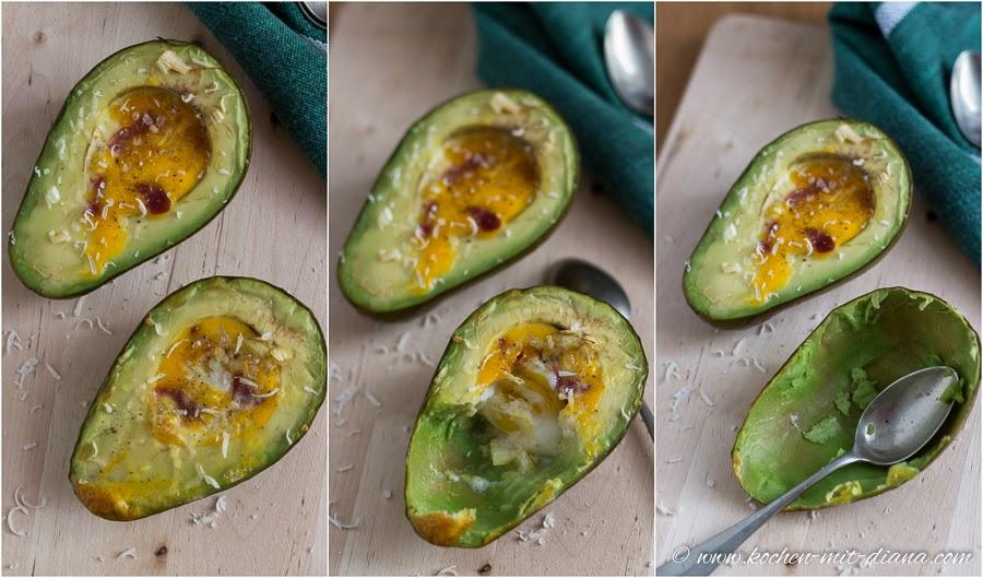Eier im Avocado-Boot