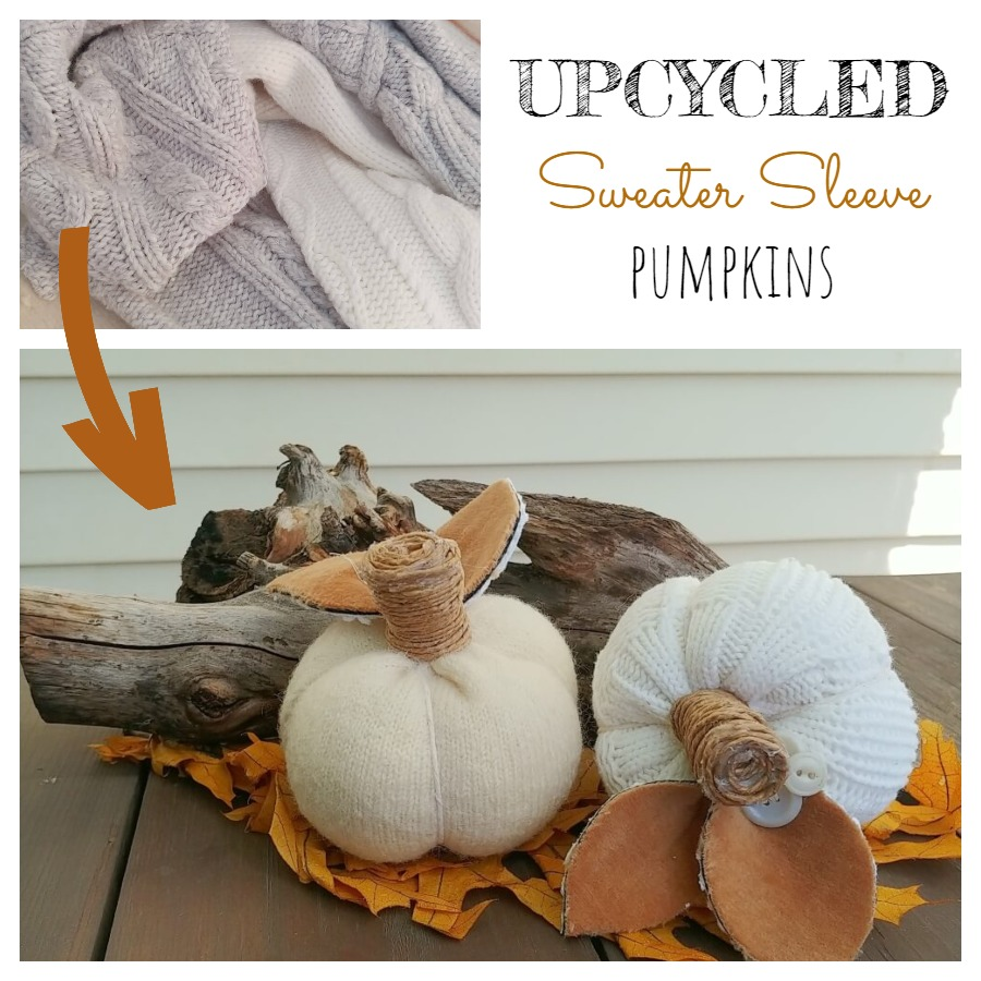 Upcycled Sweater Sleeve Pumpkins - 7 Days of Thrift Shop Flips