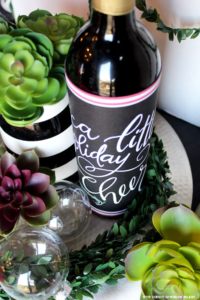 hand lettered, succulents, hostess gift idea, christmas bottle wrap
