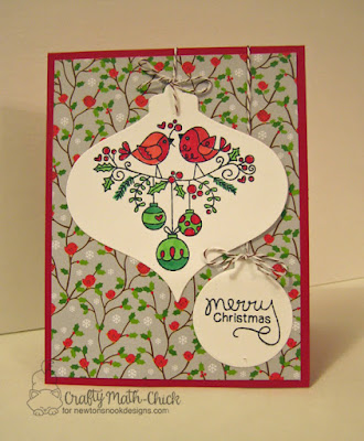 Merry Christmas Birdies Ornament Shapes Christmas card by Crafty Math Chick | Holiday Tweets stamp set by Newton's Nook Designs