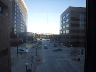 view of skywalk bridge across street in downtown Sioux City Iowa
