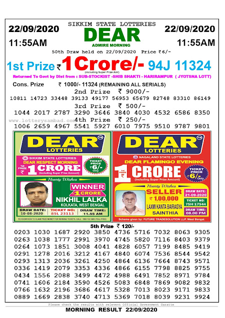 Lottery Sambad Result 22.09.2020 Dear Admire Morning 11:55 am