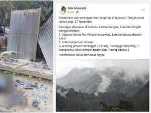 Ade Armando Sebut Gedung Gereja Dibakar di Sigi, Kapolda Membantah: Tidak Ada Gereja Dibakar