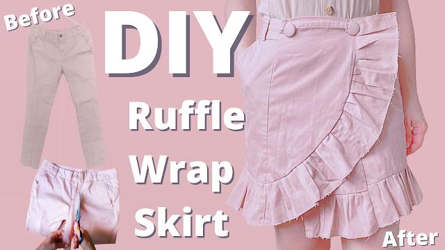 DIY ruffle wrap skirt tutorial   begginer friendly sewing
