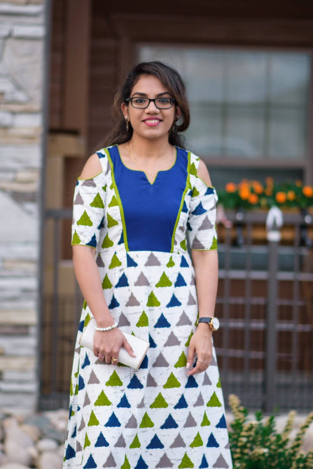 Geometric Pattern Dress;Aim for Glam; Prasanthi Kadiyala; 2018 Fashion; Indo-western Fusion; Le Svana
