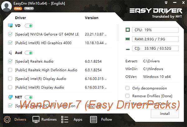 WanDriver 7 (Easy DriverPacks) Tiếng Anh - Cài full driver cho Win 7/10 a
