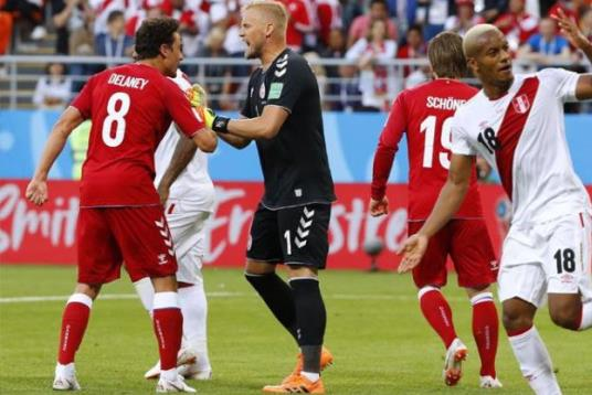 الدنمارك تحقيق فوزا بشق الأنفاس على البيرو ( 1-0)