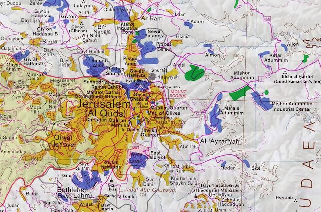 Mapa da região de Jerusalém - Israel