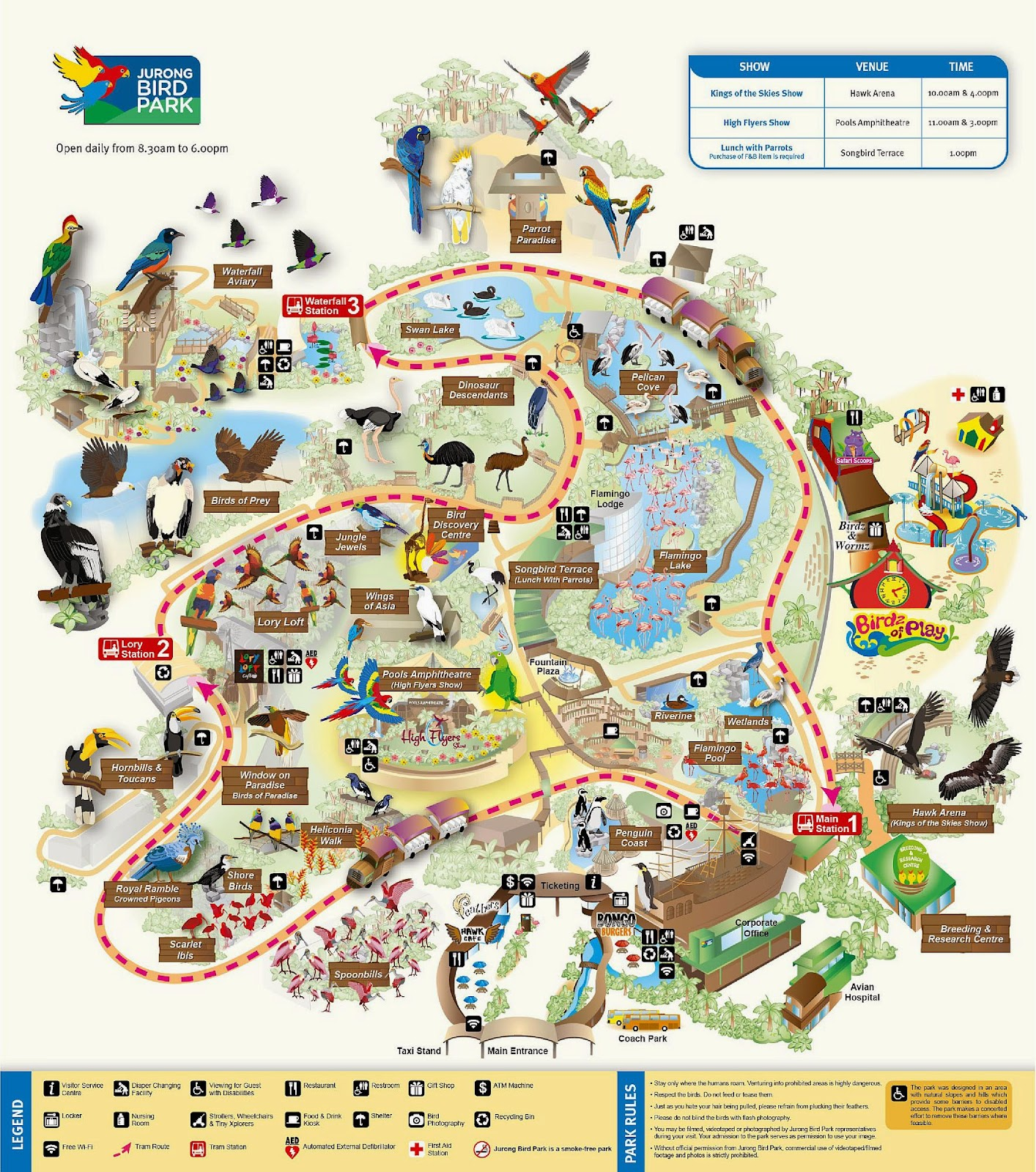 Park map, Jurong Bird Park, Singapore