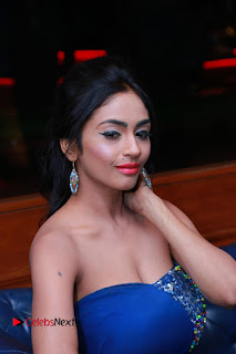 Actress Pooja Sree Pictures in Blue Long Dress at Chocolate Boy Friendship Day Event  0091.JPG