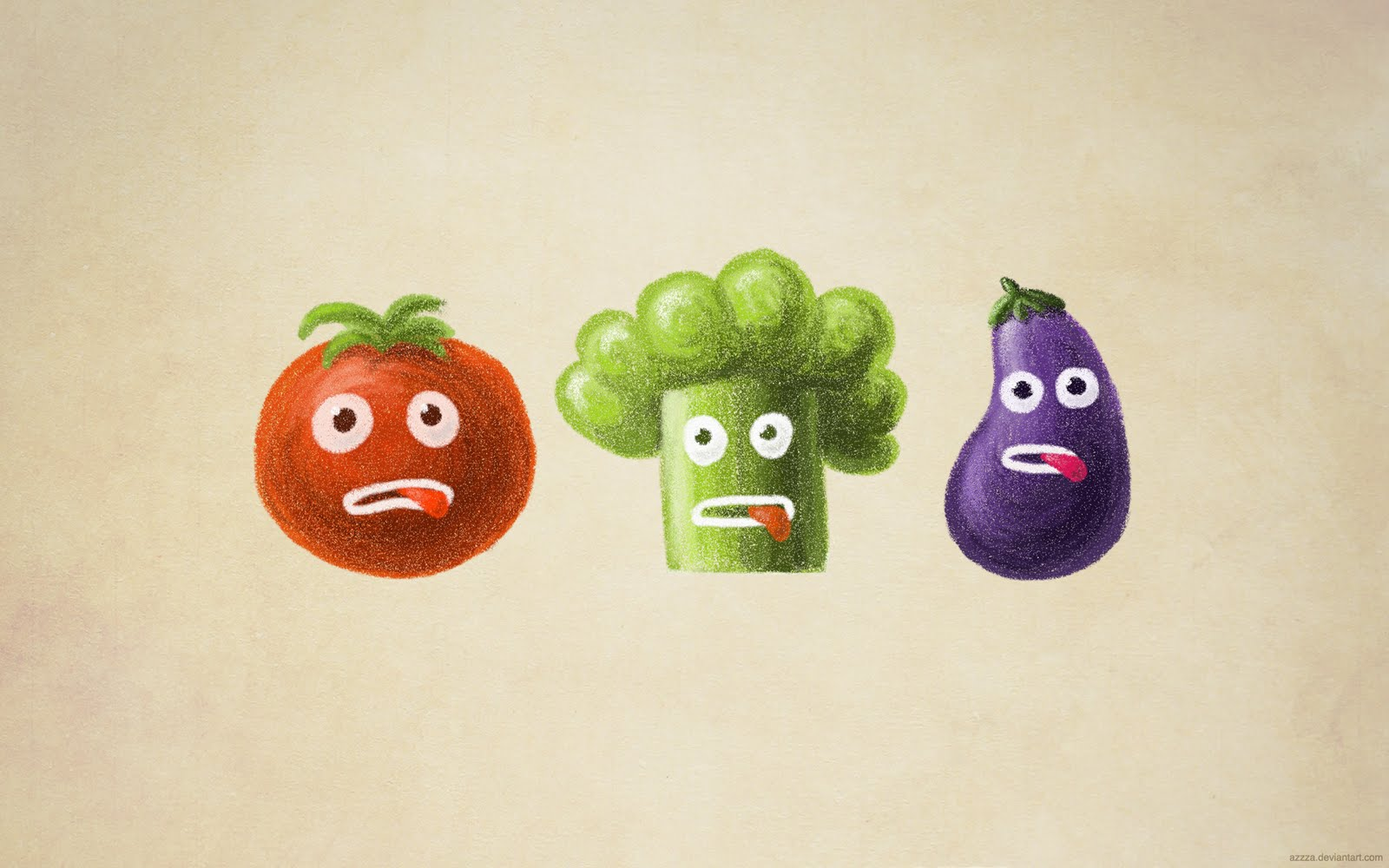 Funny vegetables wallpaper - cute stressed cartoon tomato, broccoli and eggplant.