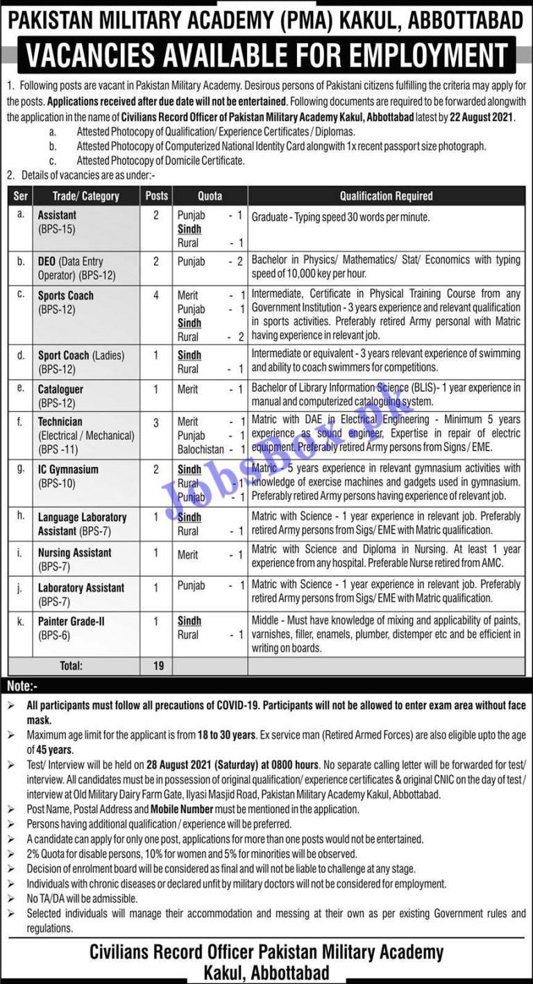 Pakistan Military Academy PMA Kakul Abbottabad Jobs 2021