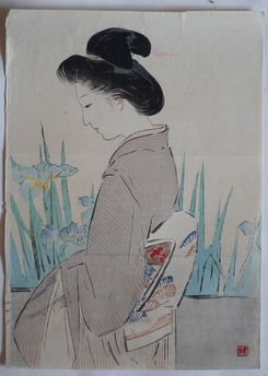 梶田半古 八ツ橋がの木版画販売買取ぎゃらりーおおのです。愛知県名古屋市にある木版画専門店