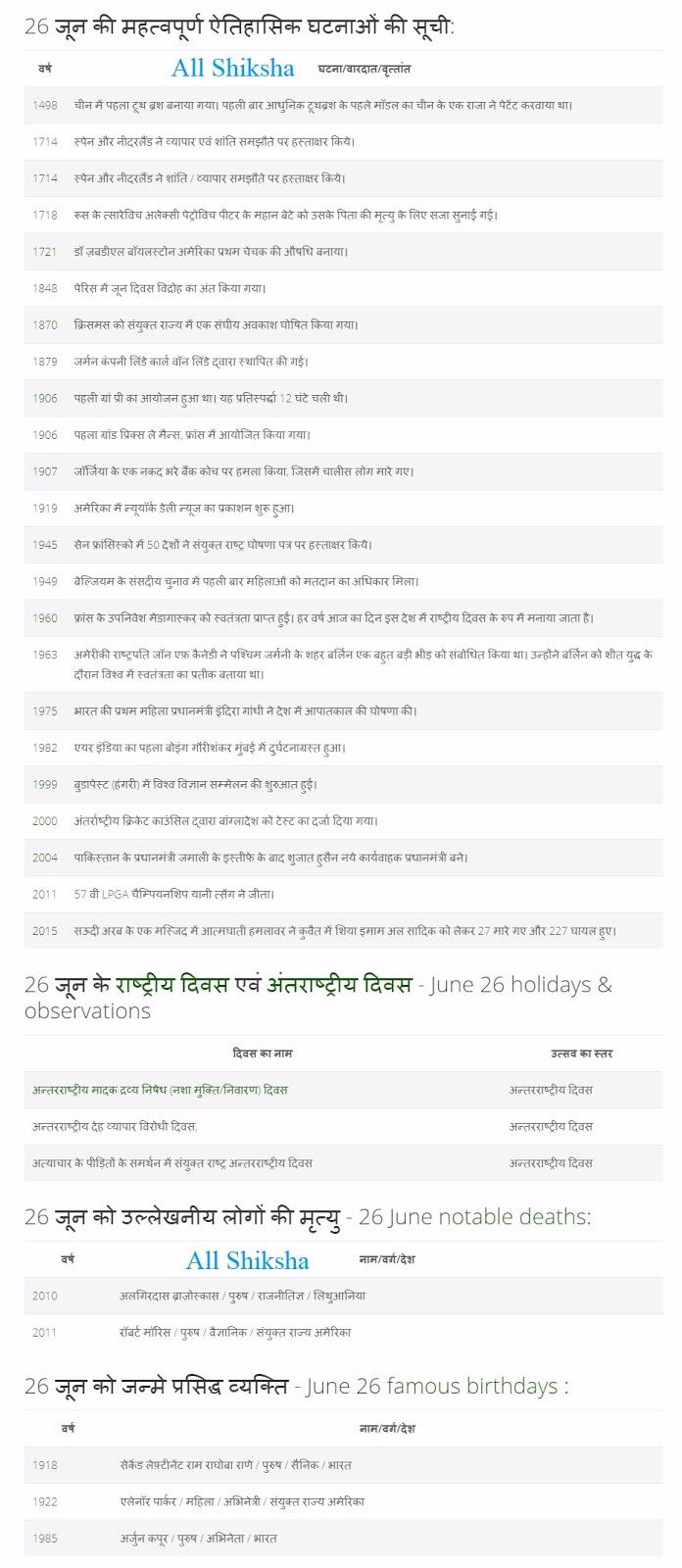 History of 26 June