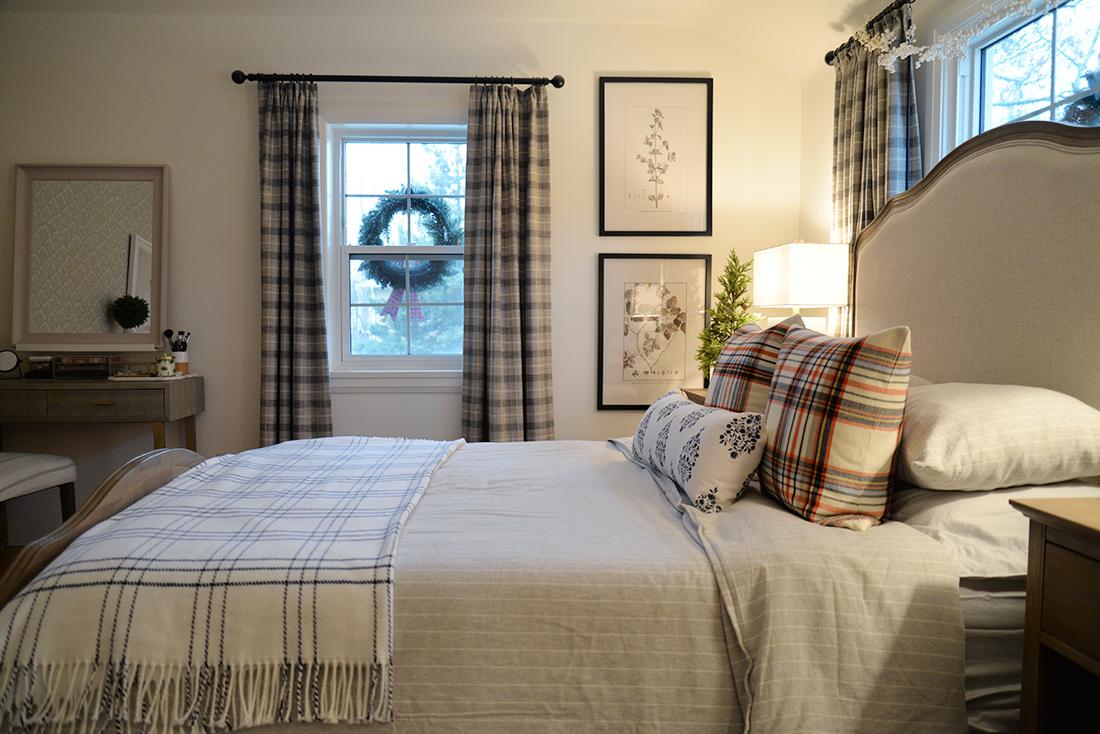 plaid curtains, plaid pillows, stiped flannel bedding, windpane blanket, wreaths in windows