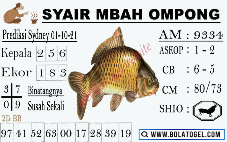 Syair Mbah Ompong Sdy Jumat 01-Okt-2021