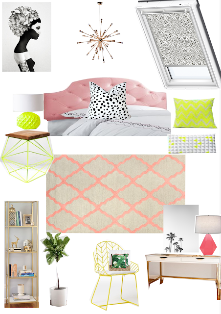 girly glam neon guestroom office
