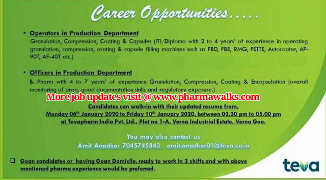 Teva pharmaceuticals walk-in interview for Production department on 6th - 12th Jan' 2020