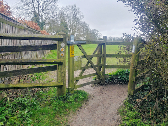 The gate mentioned in point 1 below where you take the left-hand footpath 22