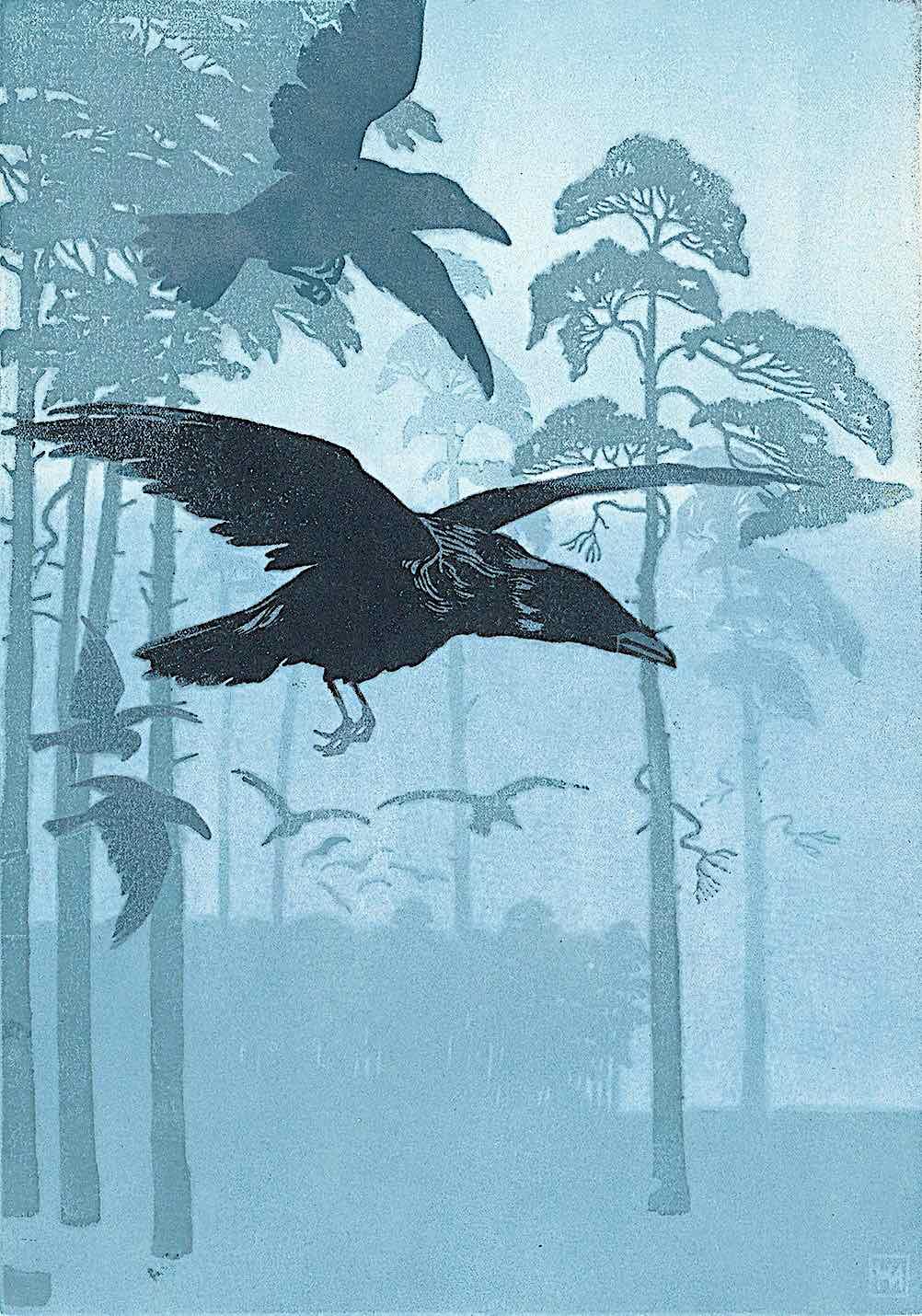 a Hans Neumann print of flying ravens