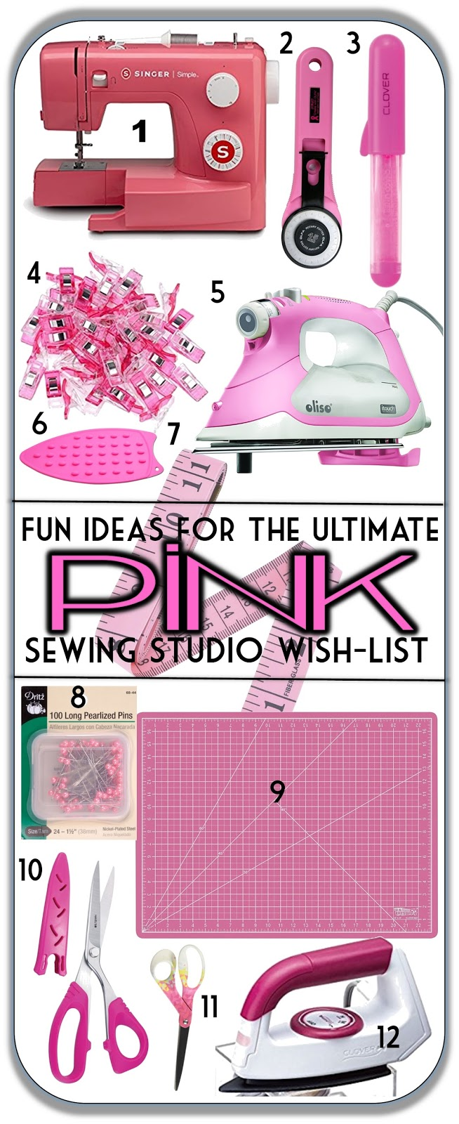 Pink-themed gift ideas for sewing enthusiasts and quilters, colorful sewing gadgets, irons, cutting mats. Stocking stuffer ideas for women? || Sew at Home Mummy