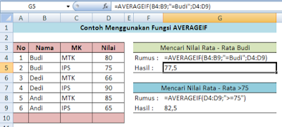 averageif function on Excel