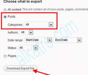 export posting wordpress