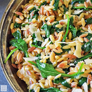 Orzo Pasta with Spinach and Parmesan | by Life Tastes Good