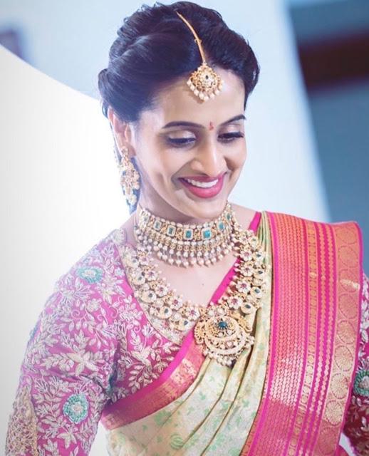 Bride in Floral Mango Necklace