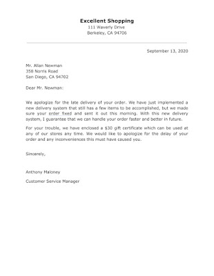 Apology Letter sample for Late Order Delivery