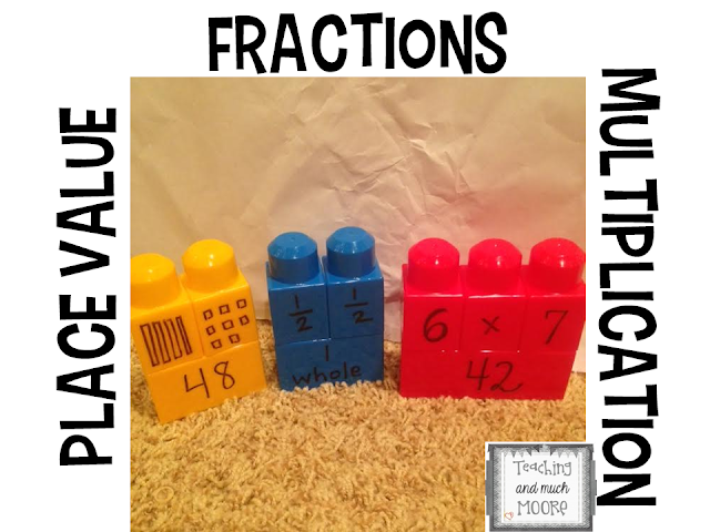 Using blocks to teach math, math center, place value, multiplication, fractions.