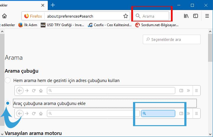 Mozillada adres satırı yanına arama kutusu ilavesi - www.ceofix.com