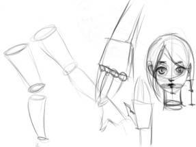 Menggambar Lengan, Kaki dan Leher dari bentuk dasar Silinder sebagai media latihan teknik dasar menggambar