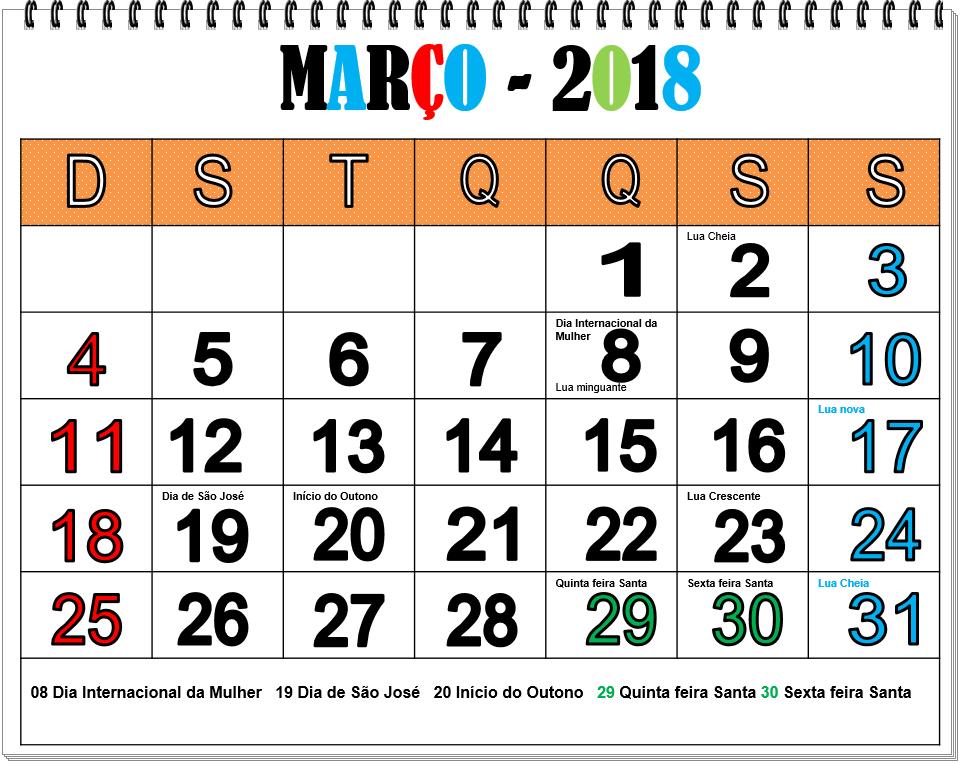 Resultado de imagem para calendario março 2018