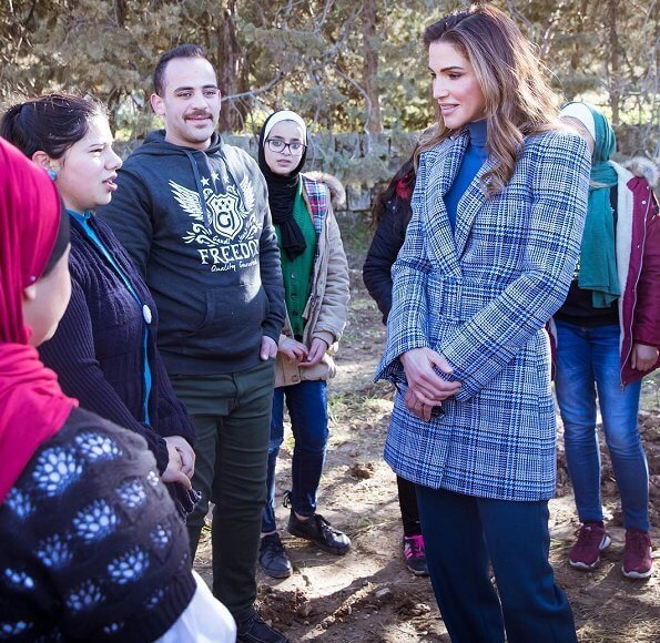 Queen Rania wore OFF-WHITE Belted Plaid Blazer from Ready To Wear Fall Winter 2017 at Al Kamaliya Forest in Amman