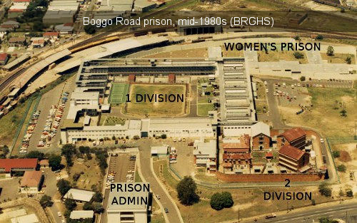 Labelled aerial photo of Brisbane's Boggo Road prison mid-1980s.