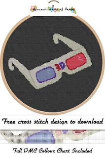 funky vintage retro 3d glasses cross stitch pattern
