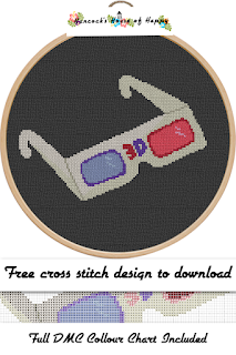 Funky Vintage Retro 3D Movie Glasses Cross Stitch Pattern
