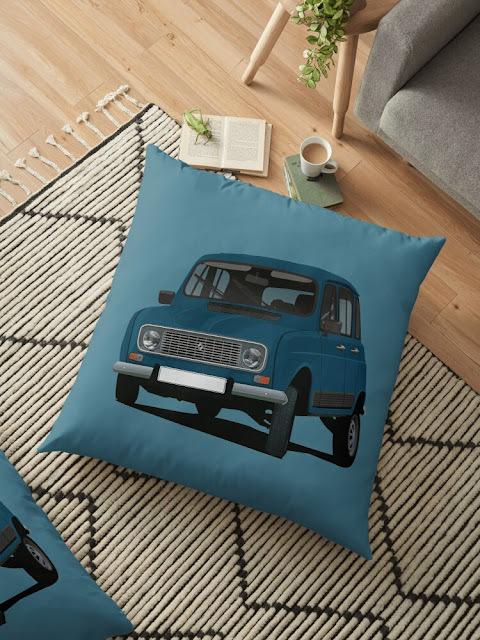 Renault 4 themed home decor - floor pillow