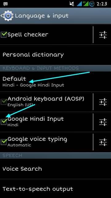 type in hindi settings