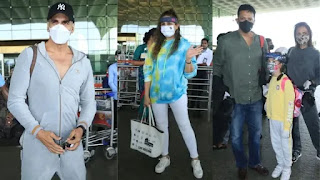 Akshay Kumar Spooted with team 'Bellbottom'at airport for going first schedule
