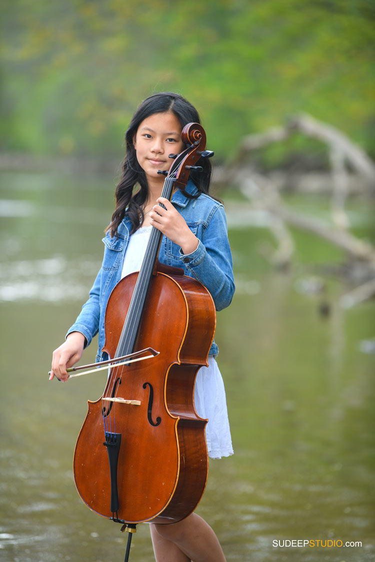 Birthday Portraits for Teenage Girl playing Cello violin Music in Outdoor Nature SudeepStudio.com Ann Arbor Family Portrait Photographer