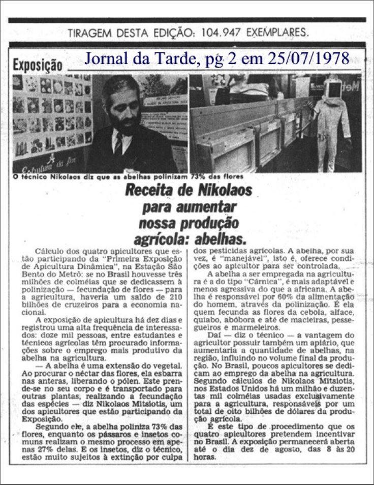 Nota sobre exposição realizada por Nikolaos na estação São Bento do Metrô, em 1978. Foto: acervo Nicolaos Argyrios Mitsiotis