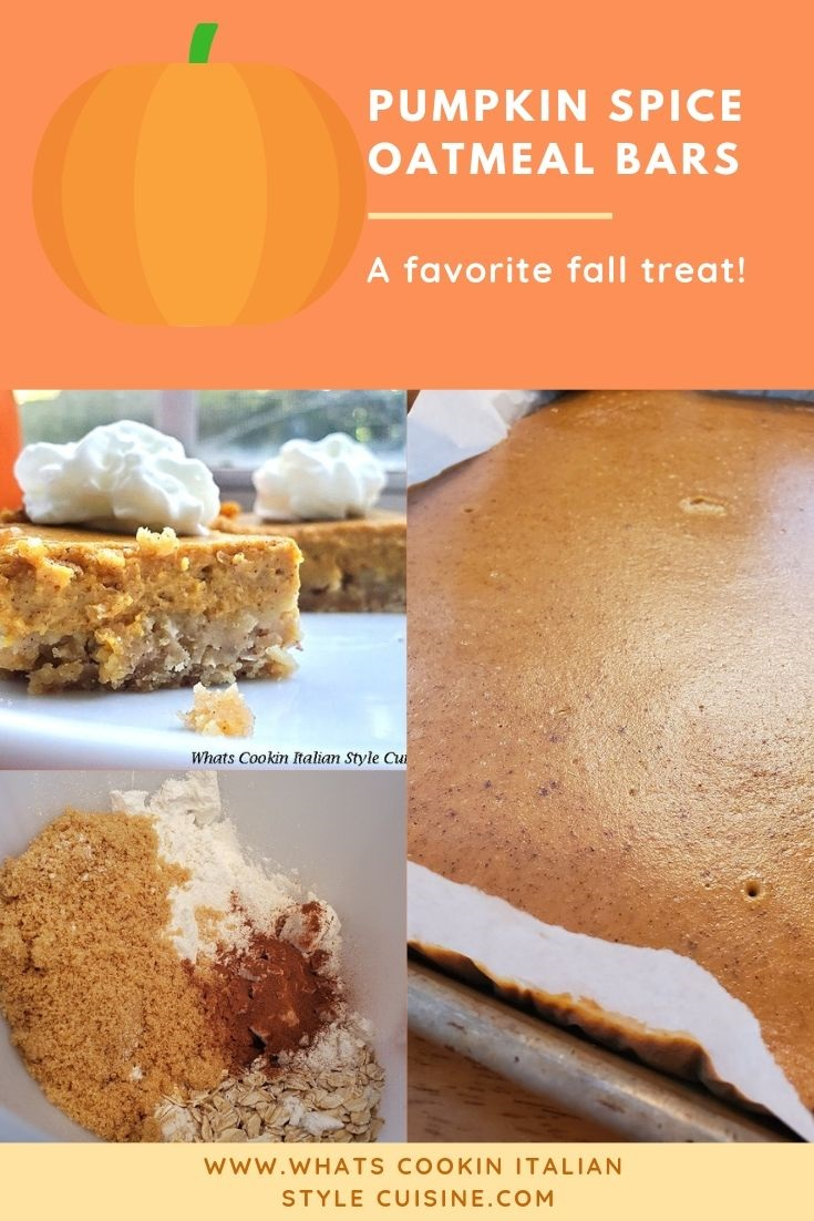 pin for later pumpkin oatmeal spice bars