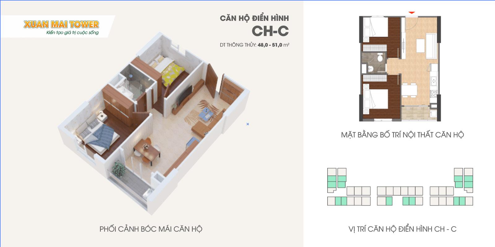 Căn hộ điển hình CH - C dự án Xuân Mai Tower Thanh Hoá