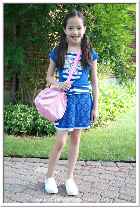 RMLA Stripe Flower Lace Skirt Cardigan Top Outfit and Bixbee Pink Sparkalicious Duffle Bag from Sophia's Style |  www.3Garnets2Sapphires.com