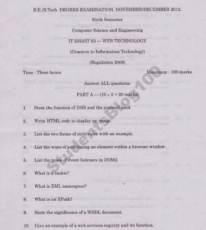 Anna Univ IT 2353 Web Technology WT Nov/Dec 2012 Question