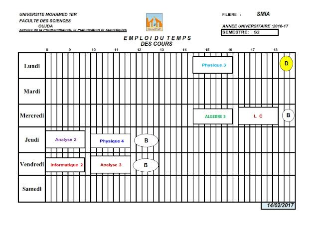 SMIA S2 : Emploi du temps des TDs 2016/2017