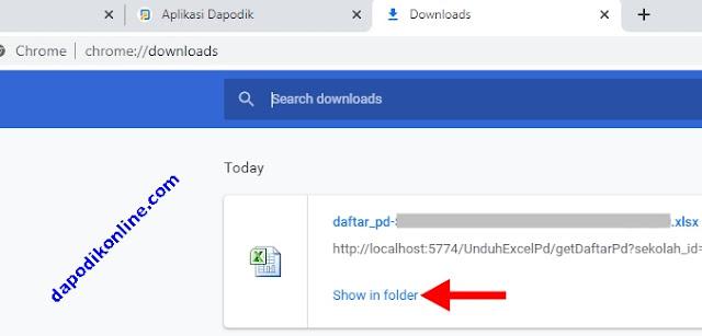Daftar PD File Excel Berhasil Diunduh dari Dapodik