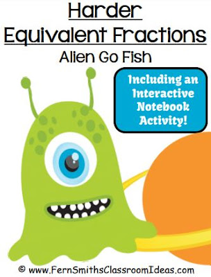 Click Here for the Harder Equivalent Fractions Go Alien Math Card Games Freebie